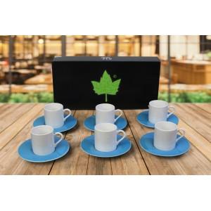 Porselen Sublımasyon Mavi Kahve Fincanı  - 6'lı Köpük Kutuda