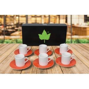 Porselen Sublımasyon Turuncu Kahve Fincanı  - 6'lı Köpük Kutuda