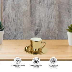 Seramik Sublimasyon Aynalı Altın Kahve Fincani – Tekli Kutu