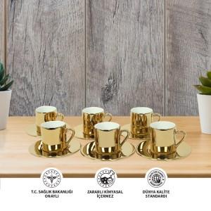 Seramik Sublımasyon Aynalı Altın Kahve Fincanı  - 6'lı Kutuda