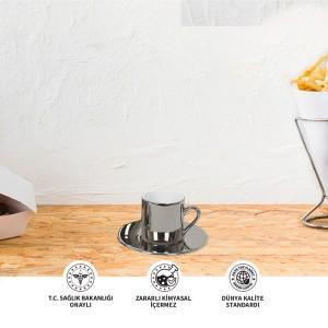 Seramik Sublimasyon Aynalı Gümüş Kahve Fincani – Tekli Kutu