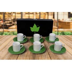 Porselen Sublımasyon Yeşil Kahve Fincanı  - 6'lı Köpük Kutuda