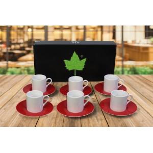 Porselen Sublımasyon Kırmızı Kahve Fincanı  - 6'lı Köpük Kutuda