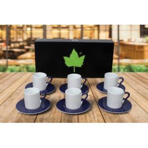 Seramik Sublimasyon Lacivert Kahve Fincanı – 6'lı Kutuda