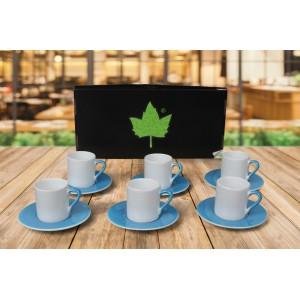 Seramik Sublimasyon Mavi Kahve Fincanı – 6'lı Kutuda