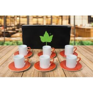 Seramik Sublimasyon Turuncu Kahve Fincanı – 6'lı Kutuda