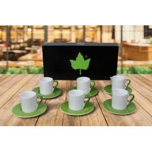 Seramik Sublimasyon Yeşil Kahve Fincanı – 6'lı Kutuda