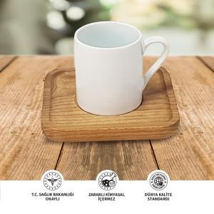 Seramik Sublımasyon Ahşap Tabaklı Beyaz Kahve Fincanı – Tekli Kutu