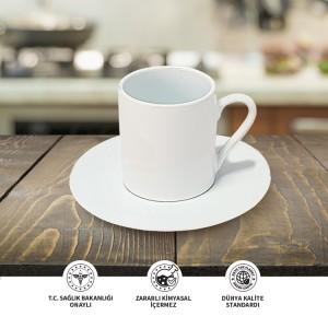 Seramik Sublimasyon Seramik Tabaklı Beyaz Kahve Fincani – Tekli Kutu
