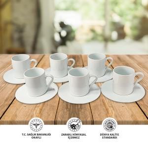 Seramik Sublımasyon Beyaz Kahve Fincanı  - 6'lı Kutuda